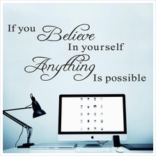 If you believe in yourself Quote Removable Vinyl Decal Art Mural Wall ..
