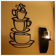 Three Coffee Cups Wall Sticker Art Home Decal Kitchen PVC Wall Decor