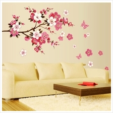 Removable Flower Peach Butterfly Wall Stickers PVC Wall Decals Home Ro..