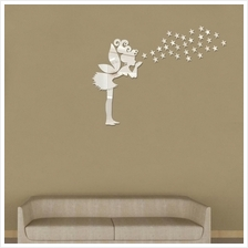 Angel Magic Fairy & Stars 3D Mirror Wall Sticker Kids Bedroom Decorati