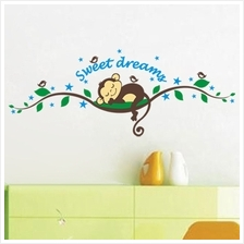 Cartoon Monkey Tree Sweet Dream Wall Art Stickers Kids Nursery Vinyl D..