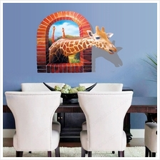 Huge Window 3D Giraffe Wall Sticker Mural Decal Wallpaper Home Decor P..