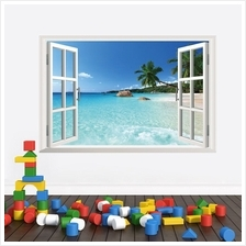 Beach Resort 3D Window View Removable Wall Sticker Art PVC Decal Decor..