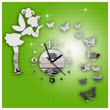 Fashion DIY Butterfly Fairy Wall Stickers Mirror Wall Clock Home Decor