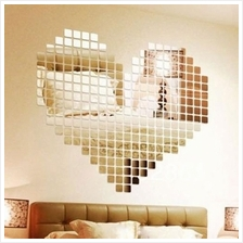 100pcs Room Decal Home Decor Art DIY Acrylic 2x2cm Mosaic Mirror Wall ..