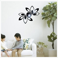 Luxury Black flower Leaves Fashion wall art clock stickers home decora..