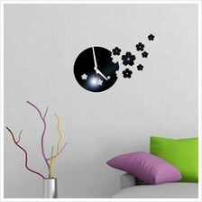 3D Stereo Workable Clocks Removable  Fall Flower Wall Sticker Art Mura..
