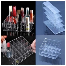 24 Trapezoid Clear Makeup Display Lipstick Stand Case Cosmetic Organiz..