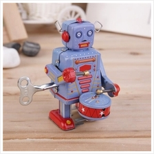 Vintage Metal Tin Drumming Robot Clockwork Wind Up Tin Toy Collectible