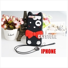 APPLE IPHONE 6 6S/ 7 8 PLUS Black Ribben Cat with Strap TPU Case