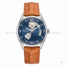 HAMILTON H32705541 Men's Jazzmaster Open Heart Auto leather blue tan