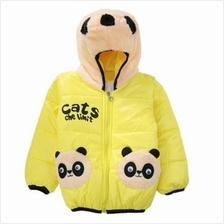 CUTE PANDA HAT LONG SLEEVE ZIPPERED PRINTED PADDED COAT FOR KIDS (YELL