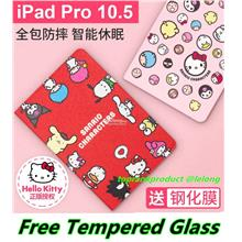 Hello Kitty iPad Pro 2017 10.5 Smart Case Cover Casing +Tempered Glass
