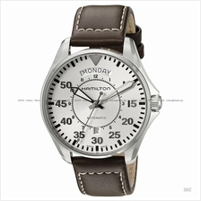 HAMILTON H64615555 Men's Khaki Aviation Pilot Day Date Auto leather