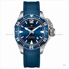 HAMILTON H77705345 Men's Khaki Navy Frogman Auto rubber strap blue
