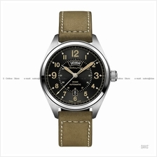 HAMILTON H70505833 Men's Khaki Field Day Date Auto leather black brown