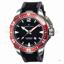 HAMILTON H77805335 Men's Khaki Navy Frogman Auto titanium rubber black