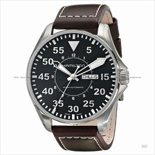 HAMILTON H64715535 Men's Khaki Aviation Pilot Auto Day Date leather