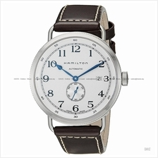 HAMILTON H78465553 Men's Khaki Navy Pioneer Small-Second leather brown