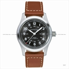 HAMILTON H70555533 Men's Khaki Field Auto 42mm date leather black brow