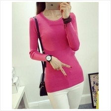 Fashion Show-slim Knit Long Sleeve Blouse (Rose Red)