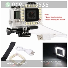 USB LED Lens Ring Flash Fill Light Night Video Camera Lamp For GoPro H