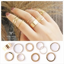 YOUNIQ Basic 10 in 1 Minimalism Vintage Gold Fashion Ring Set