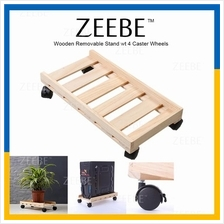 ZEEBE Wooden Computer Removable Desktop CPU Stand wt 4 Caster Wheels