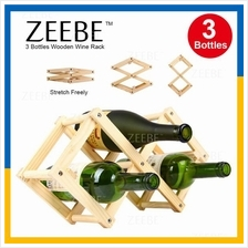 ZEEBE Foldable 3 Bottle Wooden Wine Rack Organizer Display Shelf WR001