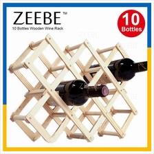ZEEBE Foldable 10 Bottle Wooden Wine Rack Organizer Shelf WR002