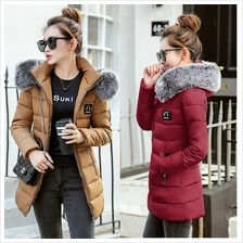 DOLLYPOODY Detachable Grey Fur Hoodie Middle Length Winter Coat Jacket)