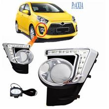 Perodua Axia Fog lamp Cover with LED Daylight Chrome