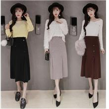FREE SHIPPING 866850 CLIMHOUSE STRECHABLE WAIST KNIT SKIRT)
