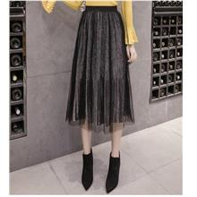 FREE SHIPPING 36645 CLIMHOUSE MESH LAYERED VELVET SKIRT)