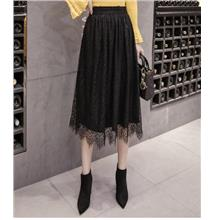 FREE SHIPPING 36540 CLIMHOUSE LACE LAYERED VELVET SKIRT)