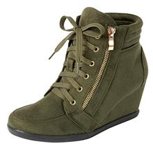Cambridge Select Womens Zipper Lace Up Wedge Heel Fashion Sneaker (10 )