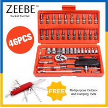 ZEEBE 46pcs Spanner Socket Set Car Repair Hand Tool Ratchet Wrench