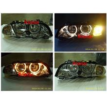 DEPO BMW E46 '98 4D Head Lamp LED Ring Projector + Motor [Chrome]