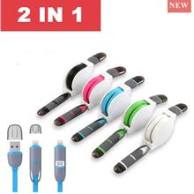 2 in 1 Retractable USB Fast charging & Data Cable For Iphone Android