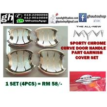 ALL NEW MYVI YR2017 SPORTY CHROME CURVE DOOR HANDLE GARNISH COVER SET