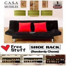 Living Room 3 Seater 2 - in - 1 Foldable Sofa Bed with FREE Shoe Rack