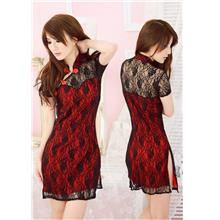 Elegant Lace Double-layer Cheongsam + T-panties (Red)