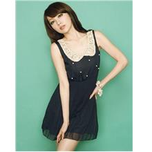 Sweety Baby Collar Pleated Dress (Black)