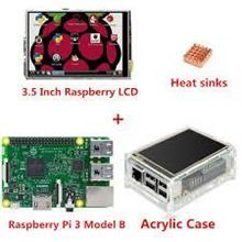 3.5 inch lcd + raspberry pi 3 + clear casing + heat sink set