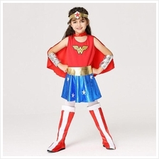 Super Girl Wonder Woman Cosplay Children Costume Party Dress )