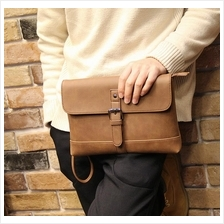 Men Crazy Horse PU Leather Clutch Bag - Design 2 (Brown)
