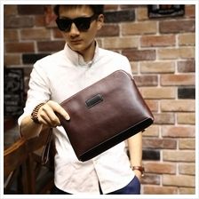 Men PU Leather Clutch Bag - Design 3 (Brown)