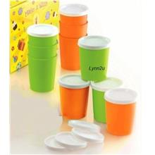 Tupperware Petit cup (10) 180ml - Orange & Green