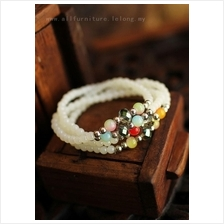 YN-6937	Four Seasons safe white agate bracelet   四季ñ..