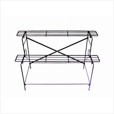ANTIQUE COLOR TWO TIER LAYERS FLOWER IRON STAND DIY AE-112HT